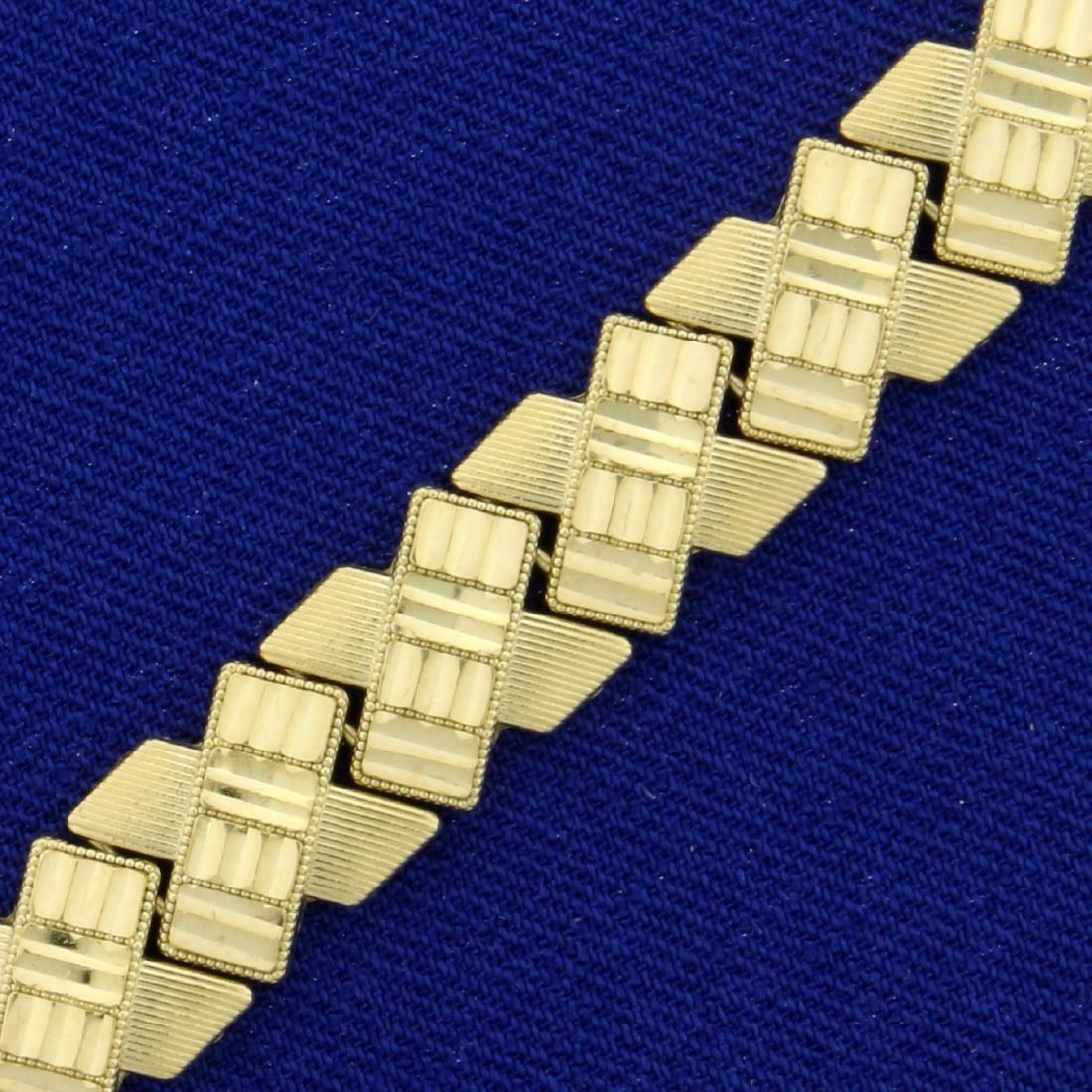 Diamond Cut X-Link Bracelet in 10K Yellow Gold - 2