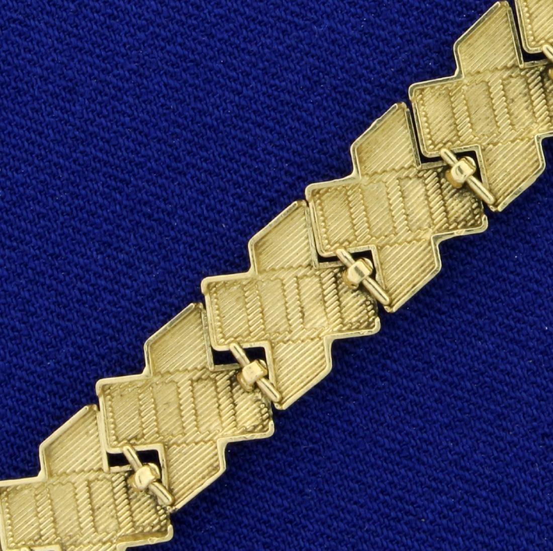 Diamond Cut X-Link Bracelet in 10K Yellow Gold - 3