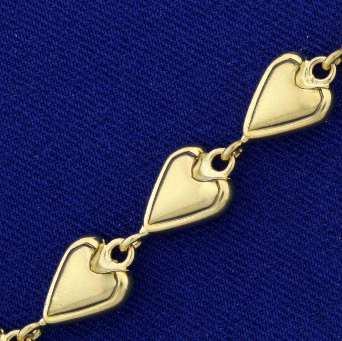 7 1/2 Inch Heart Link Heart Bracelet in 14K Yellow Gold - 2