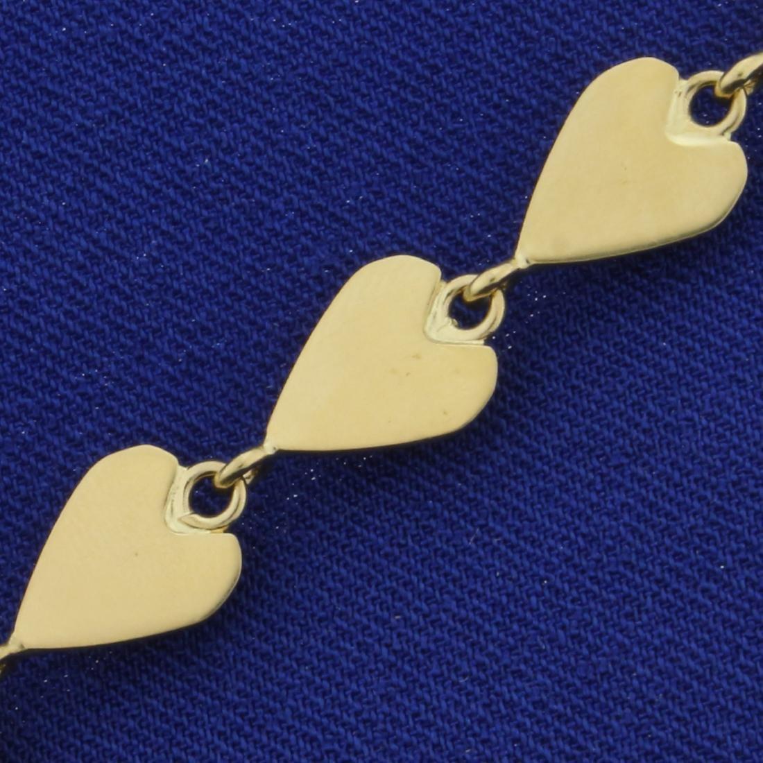 7 1/2 Inch Heart Link Heart Bracelet in 14K Yellow Gold - 3