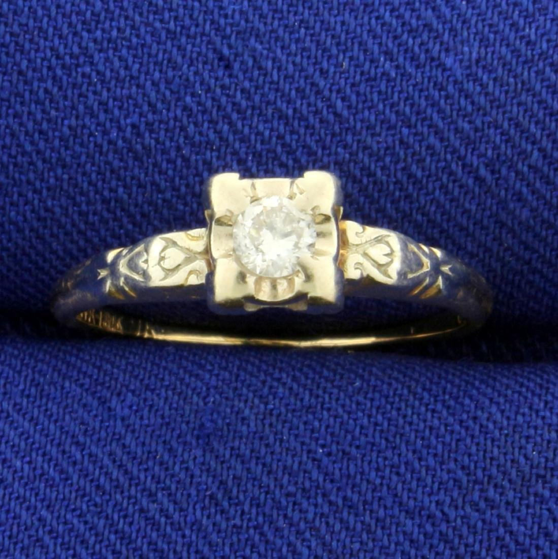 Vintage Round Solitaire Diamond Ring in 14K and 18K