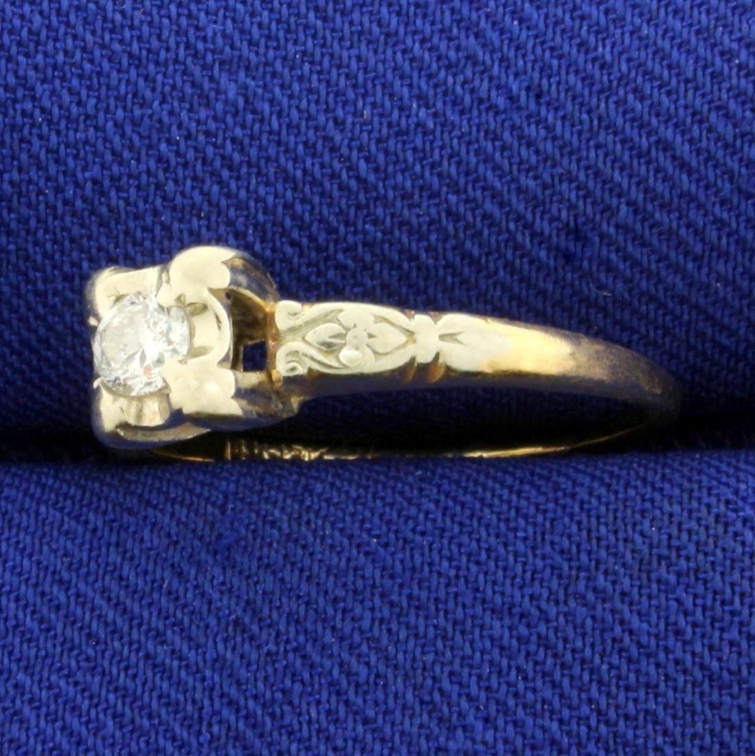 Vintage Round Solitaire Diamond Ring in 14K and 18K - 2