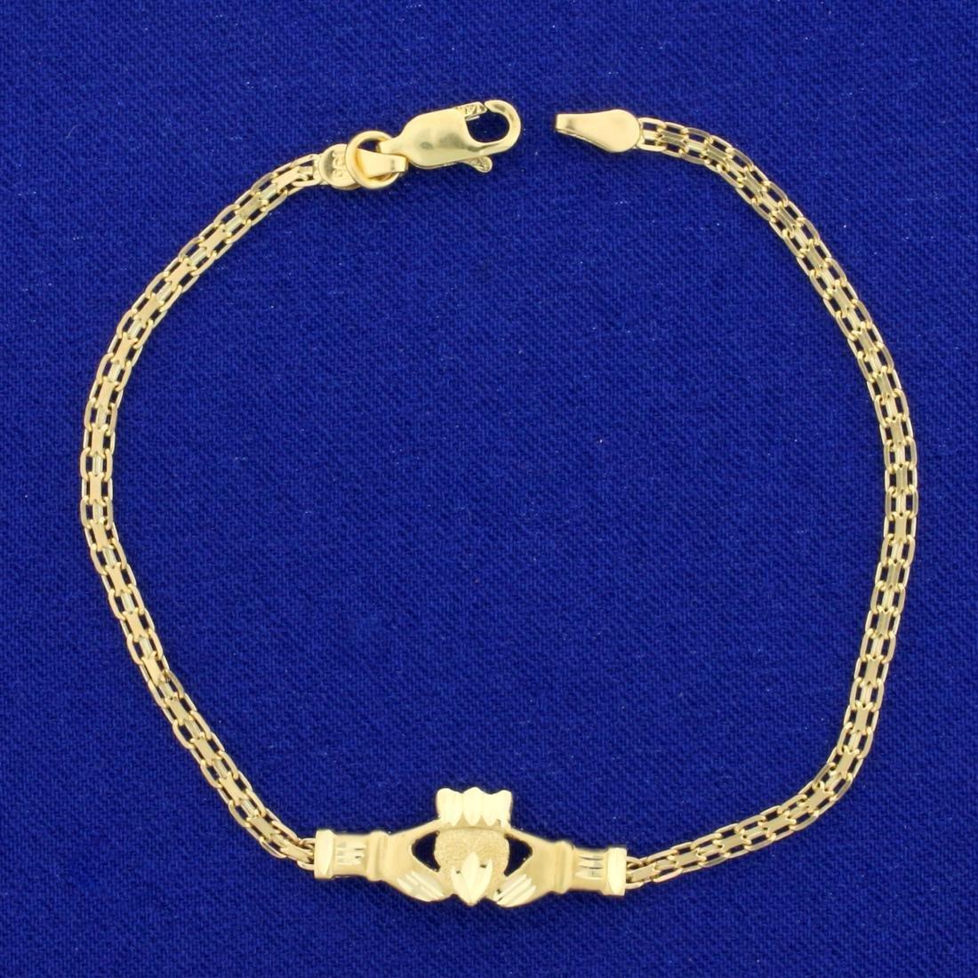 Diamond Cut Claddagh Bismarck Link Bracelet in 14K