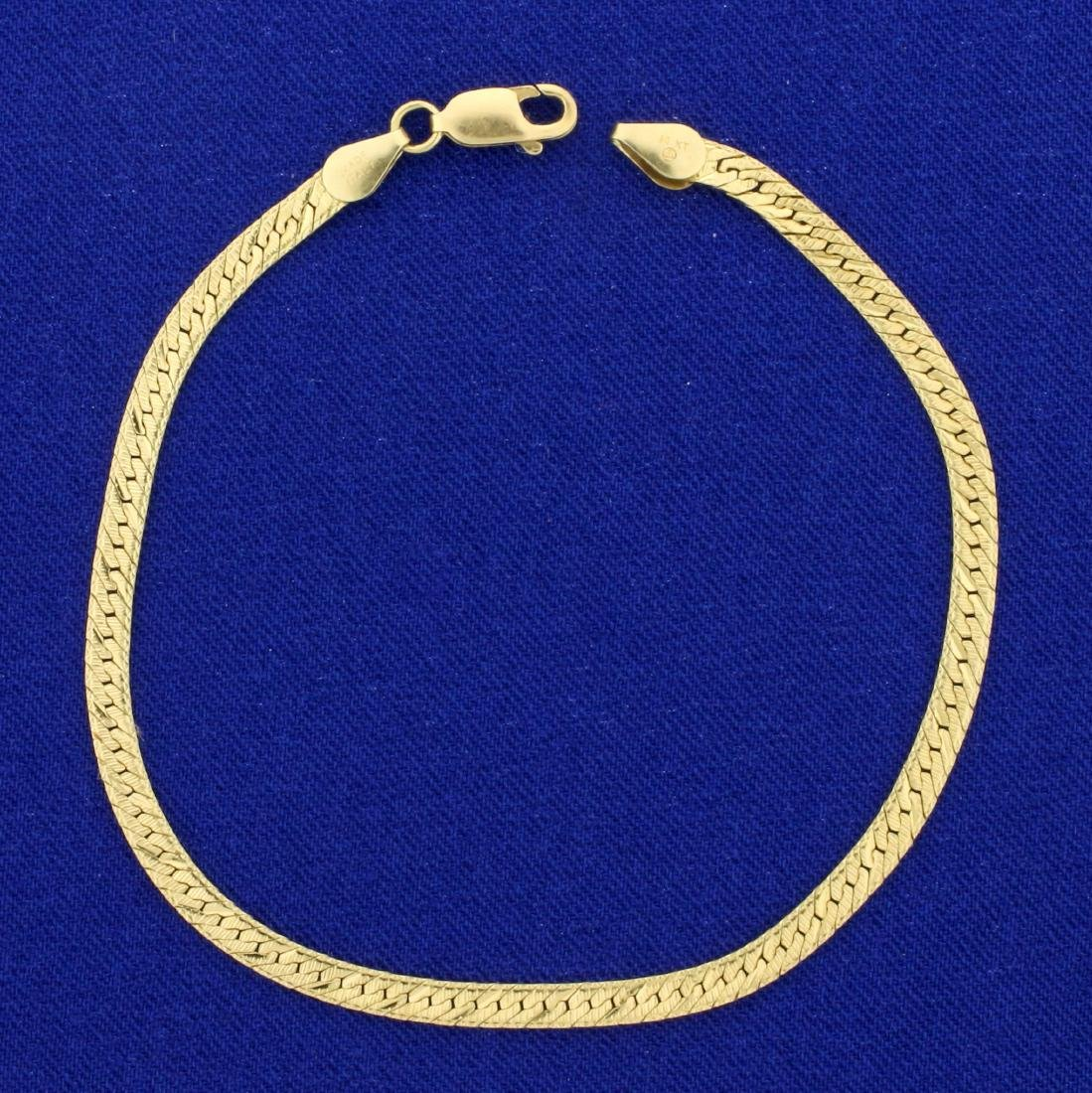 Italian Made Diamond Cut Herringbone Bracelet in 14K