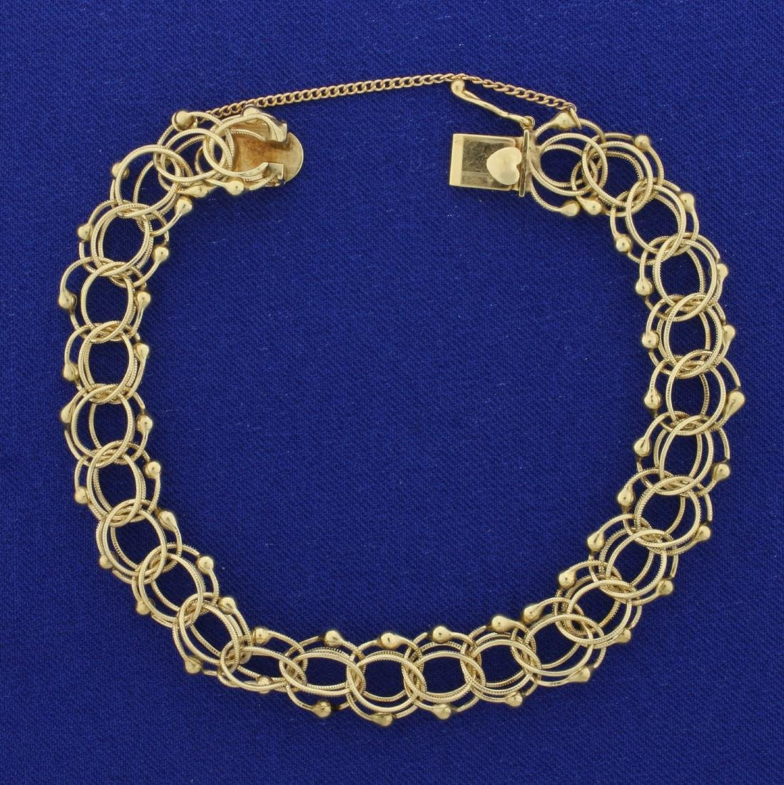 7 1/2 Inch Charm Bracelet in 14K Yellow Gold With Heart