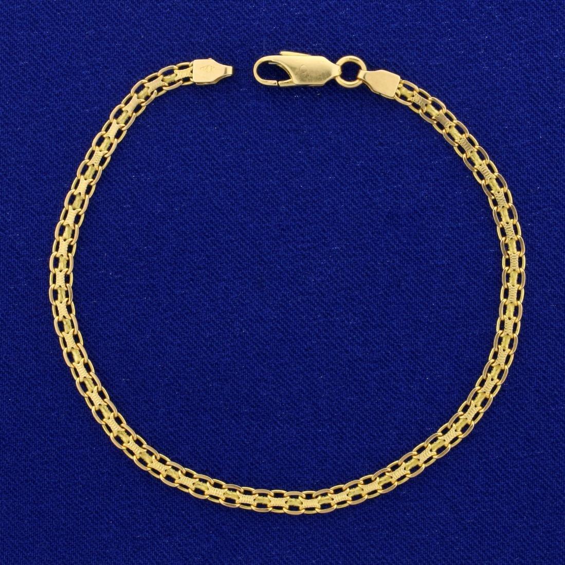 7 1/2 Inch Bismarck Link Bracelet in 14K Yellow Gold