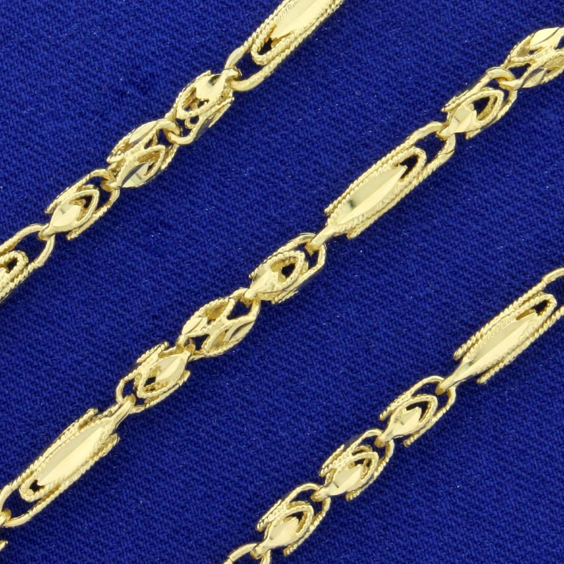 18 Inch Diamond Cut Designer Link Necklace in 14K - 2