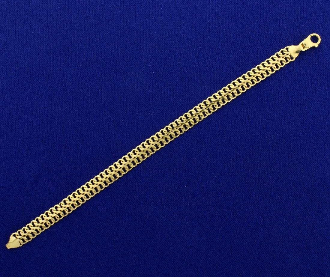 7 Inch Double Flat Infinity Link Bracelet in 10K Yellow