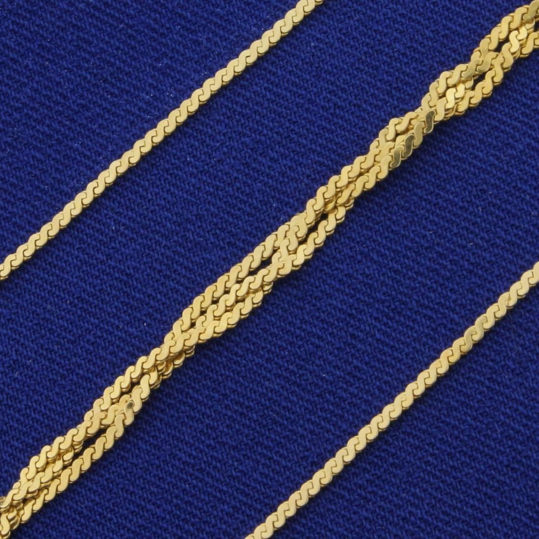 Italian Made Braided S-Link Neck Chain in 14K Yellow - 2