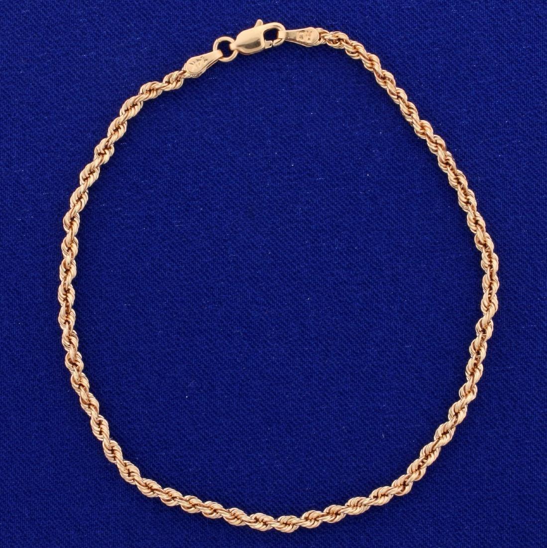 8 Inch Rope Style Bracelet in 14K Rose Gold