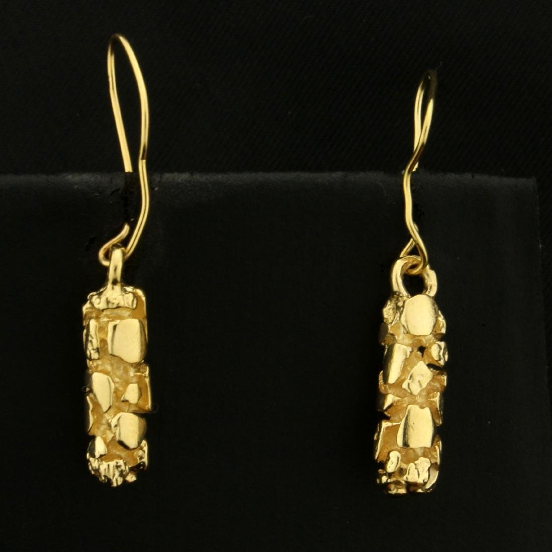 Dangling Gold Nugget Style Earrings in 14K Yellow Gold
