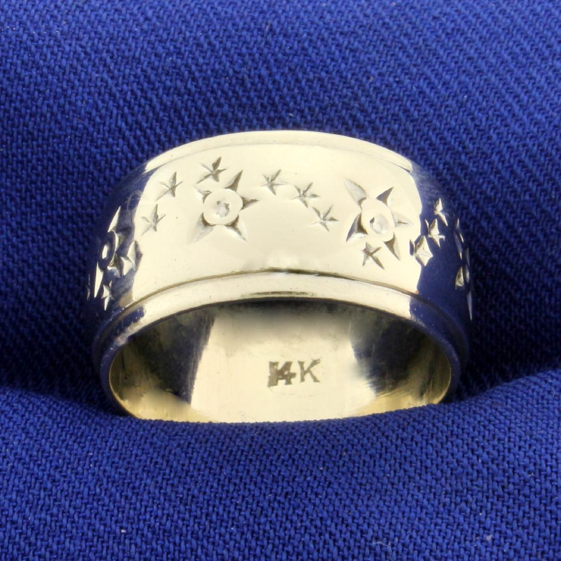 Wide Band Ring with Star Design in 14K White Gold