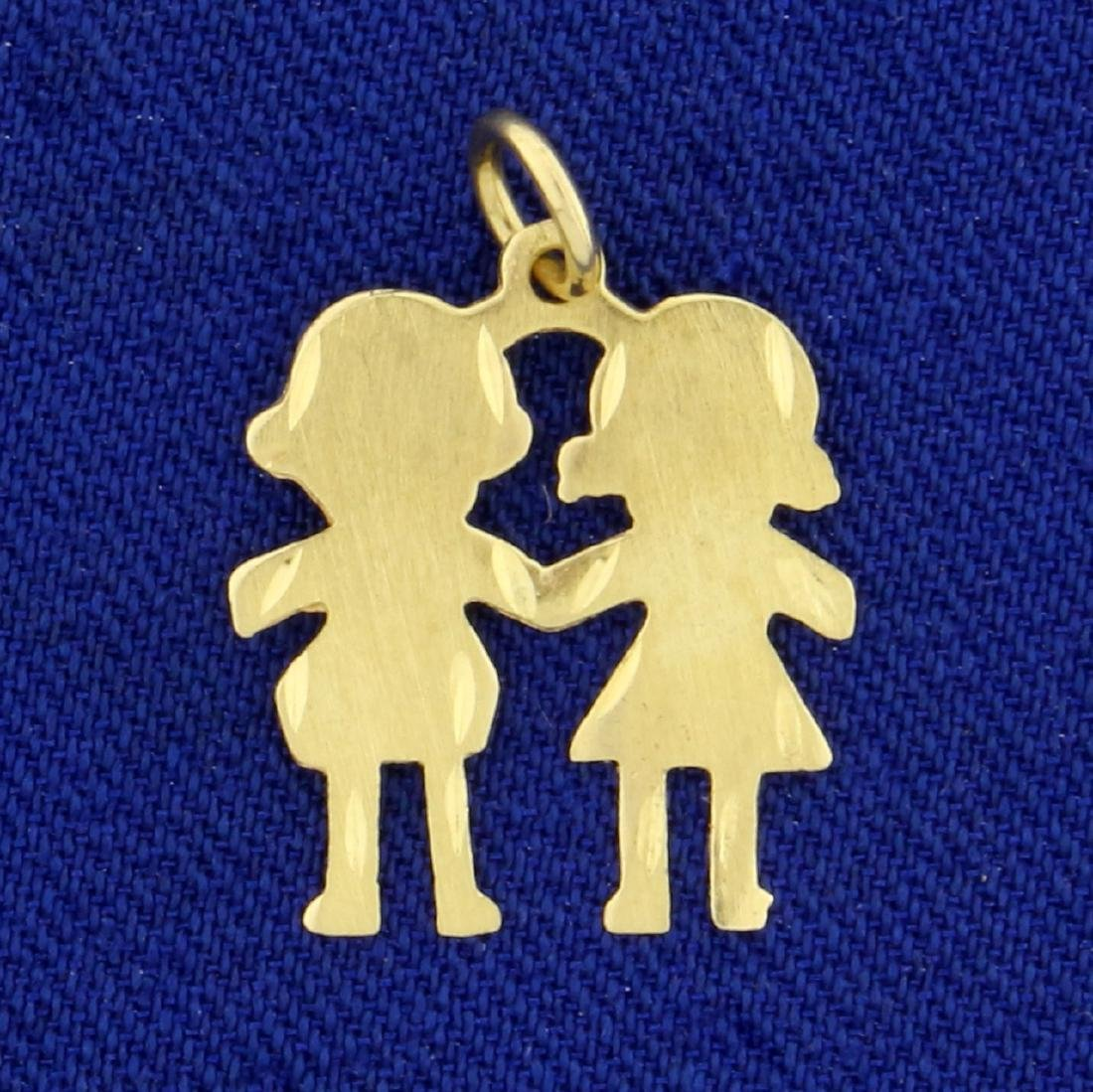 Two Children Holding Hands Pendant in 14K Yellow Gold