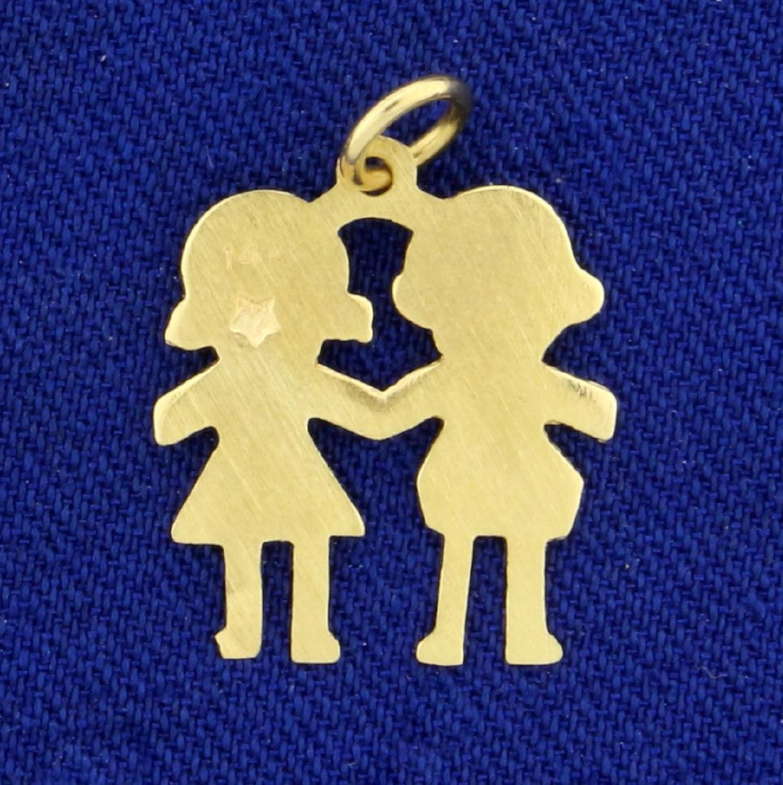 Two Children Holding Hands Pendant in 14K Yellow Gold - 2