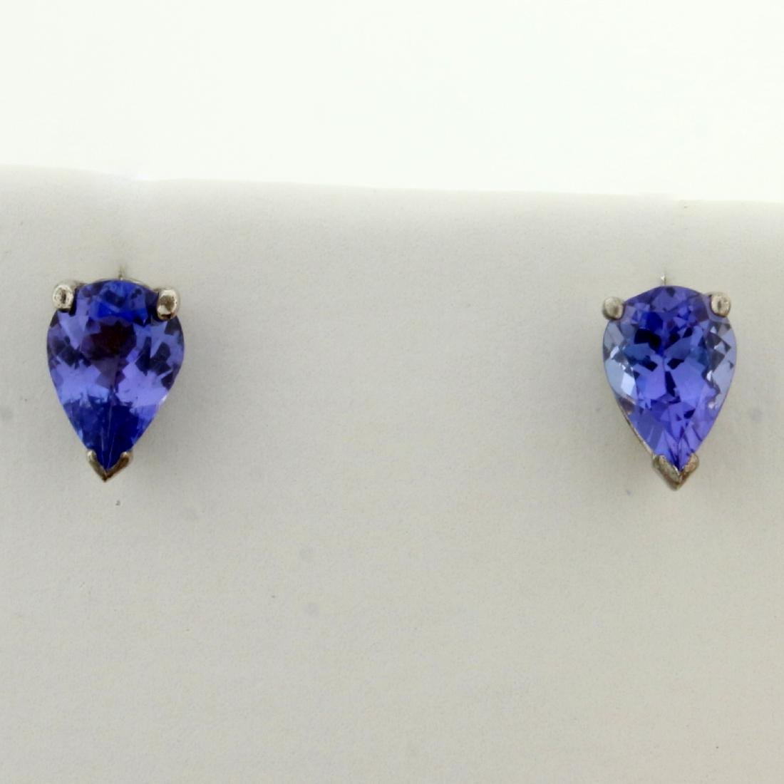 1.5ct TW Lab Tanzanite Stud Earrings in Sterling Silver
