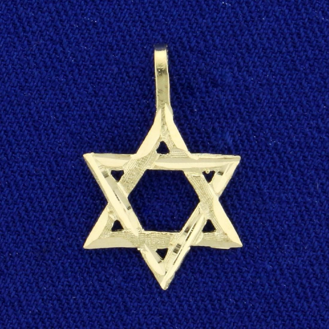 Diamond Cut Star of David Pendant in 14K Yellow Gold