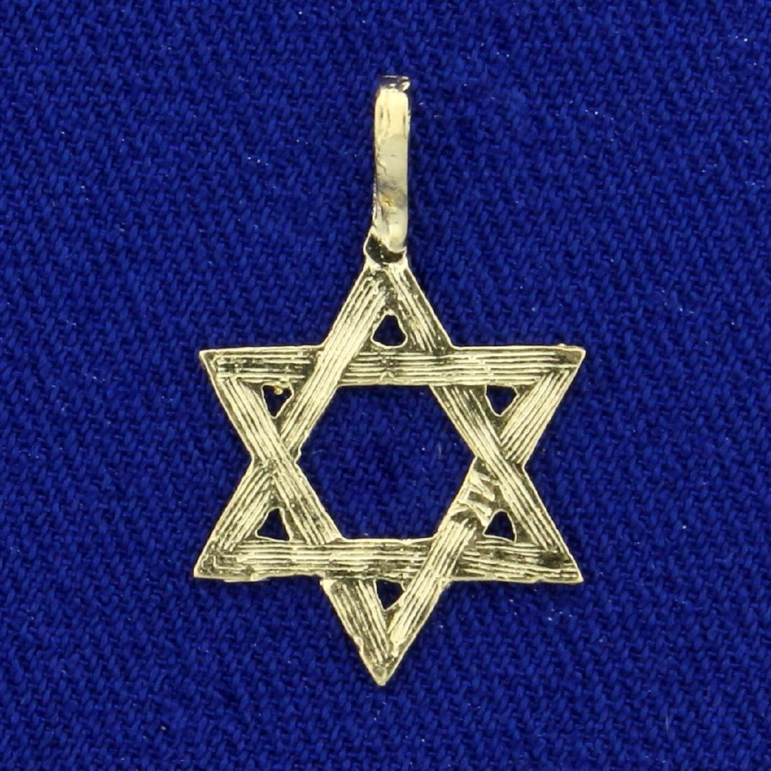 Diamond Cut Star of David Pendant in 14K Yellow Gold - 2