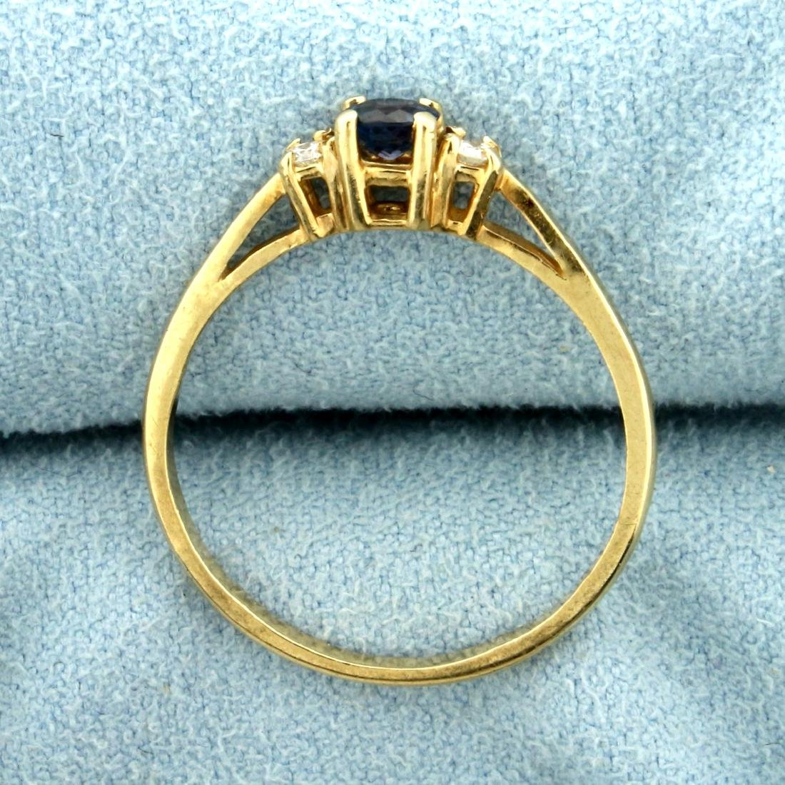 Natural Alexandrite and Diamond Ring in 14K Yellow Gold - 3