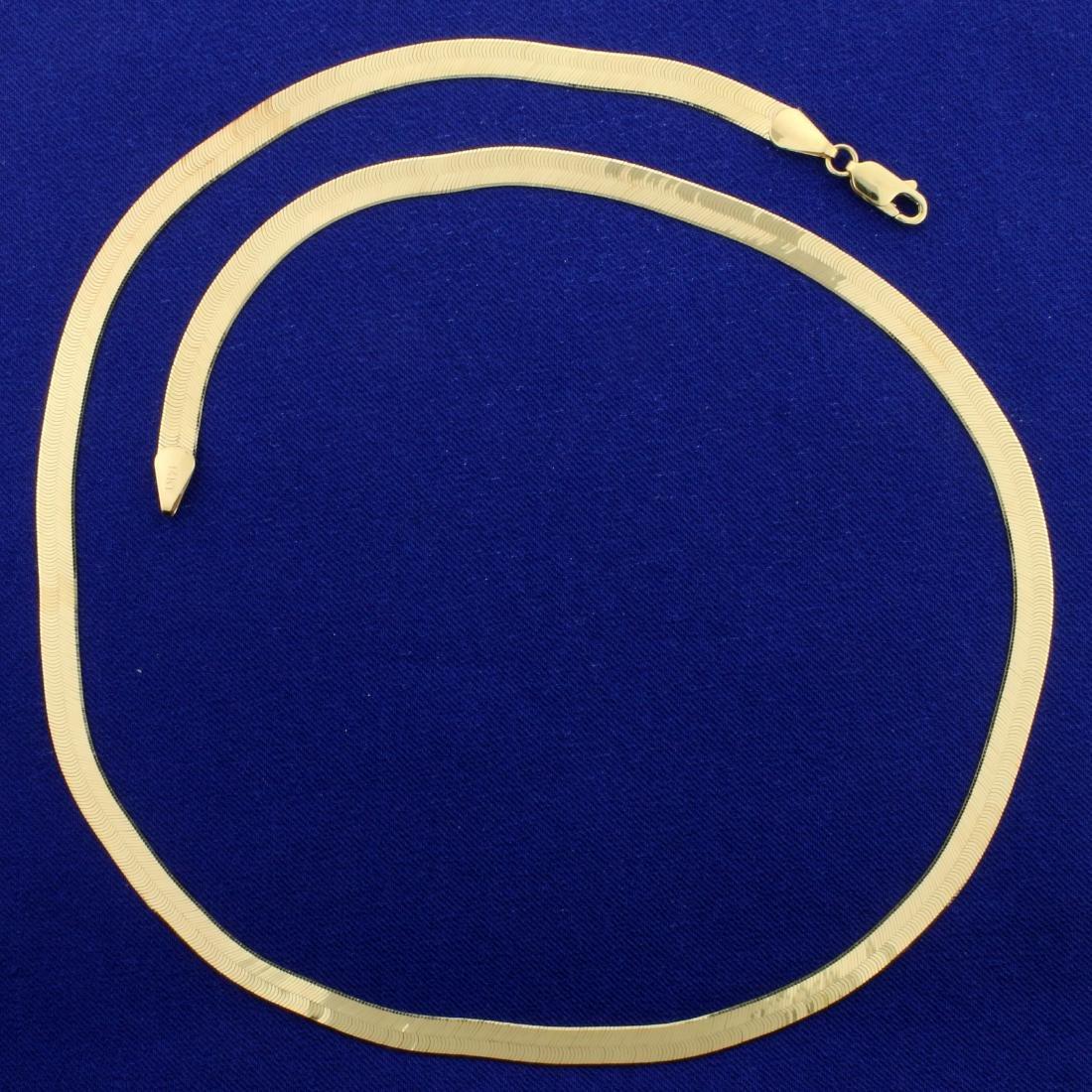 20 Inch Italian Made Herringbone Necklace in 14K Yellow