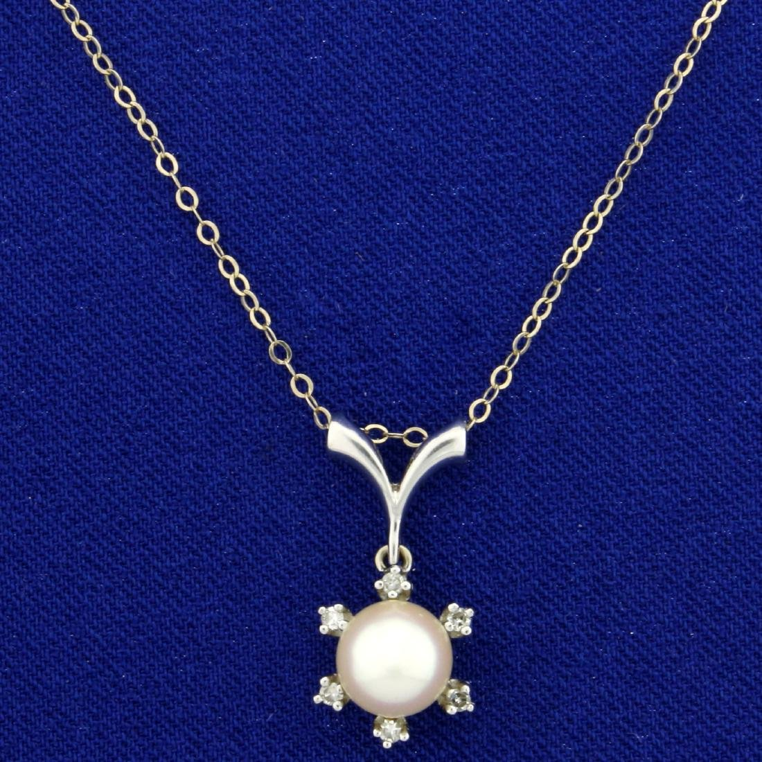 Akoya Pearl and Diamond Pendant in 14K White Gold