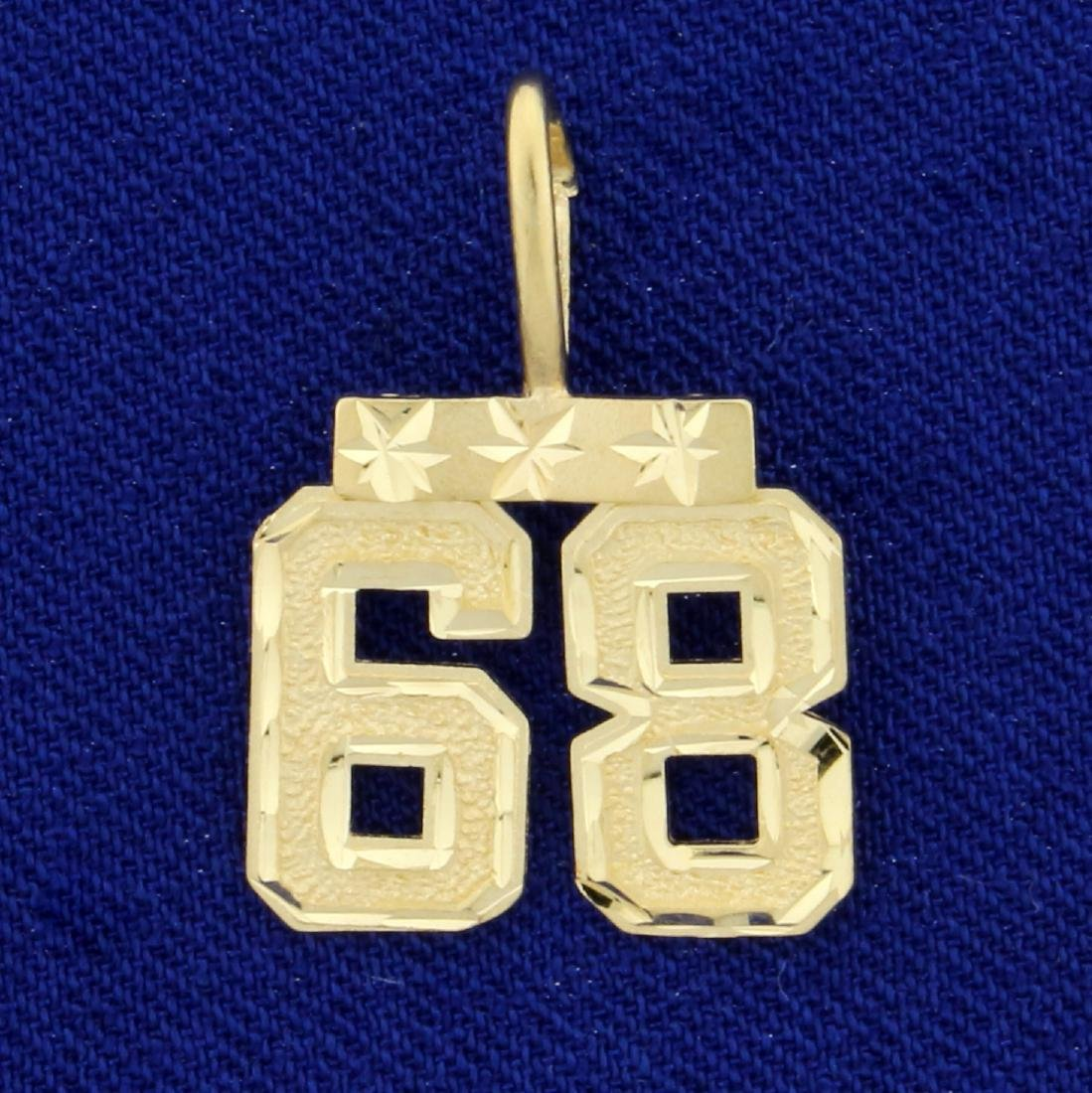 """Number """"68"""" Pendant in 14K Yellow Gold"""