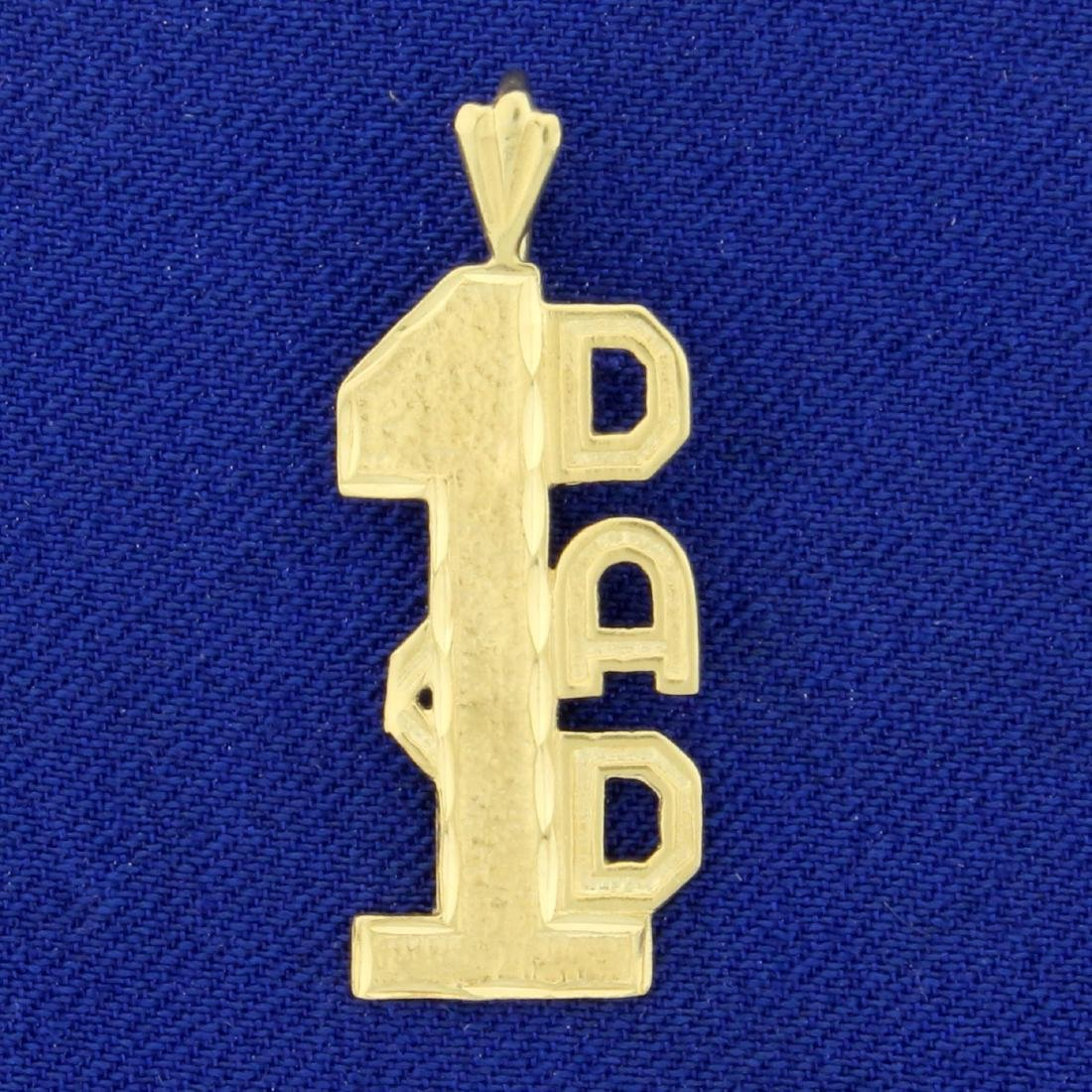 Number One Dad Pendant in 14K Yellow Gold