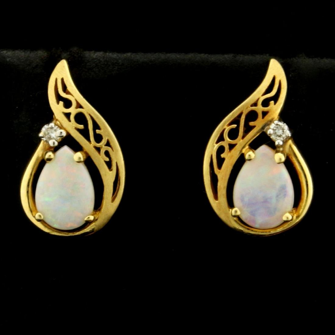 Pear Shaped Opal and Diamond Earrings in 14K Yellow