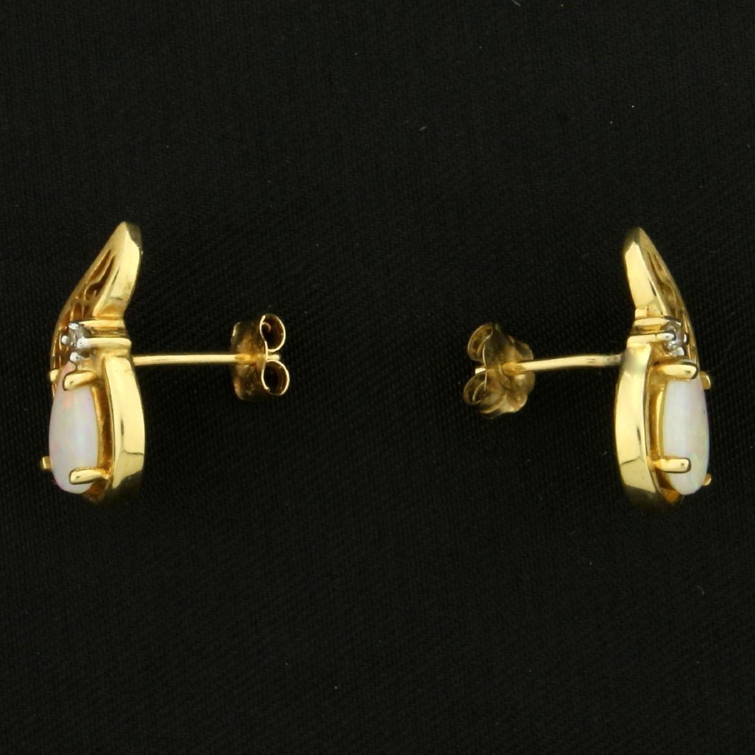 Pear Shaped Opal and Diamond Earrings in 14K Yellow - 2