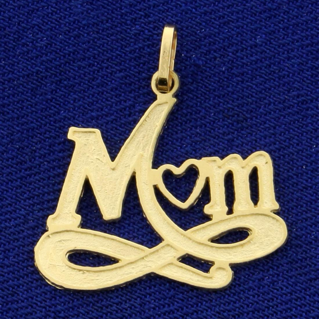 Mom Heart and Infinity Pendant in 14K Yellow Gold