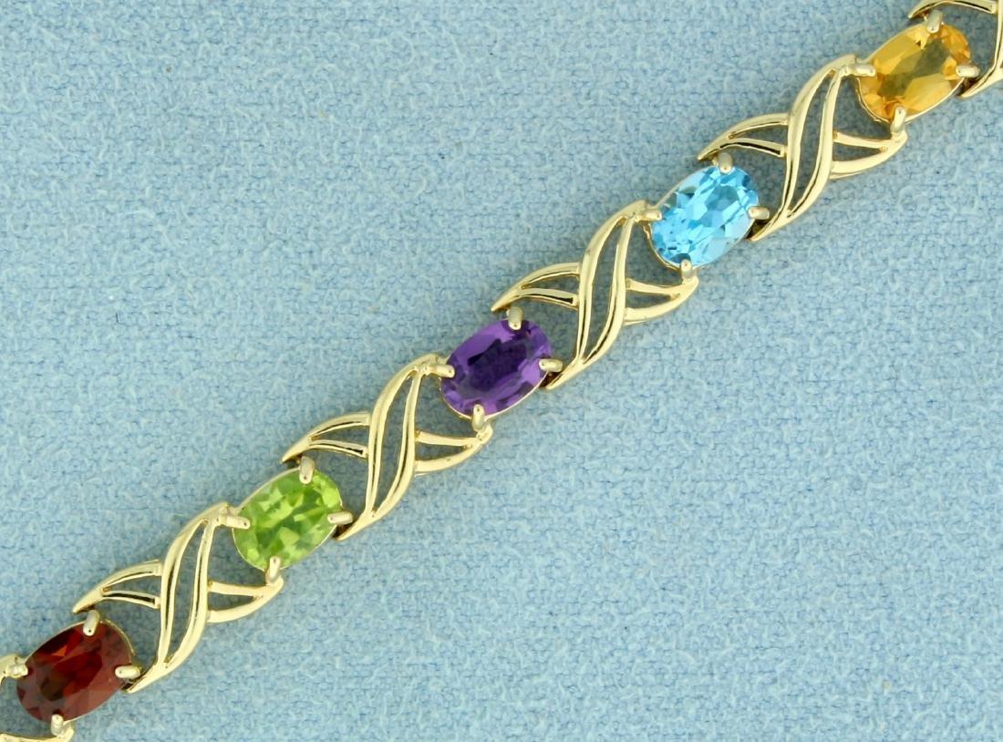 7 Inch Rainbow Semi-Precious Gemstone Bracelet in 14K - 2