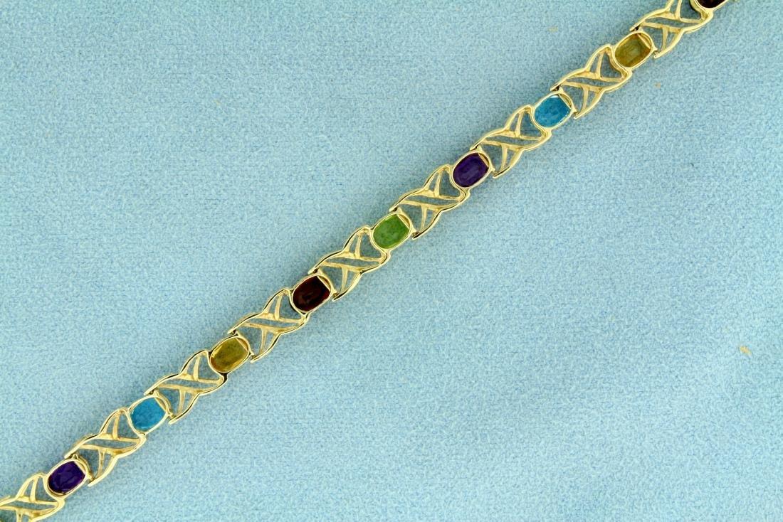 7 Inch Rainbow Semi-Precious Gemstone Bracelet in 14K - 3