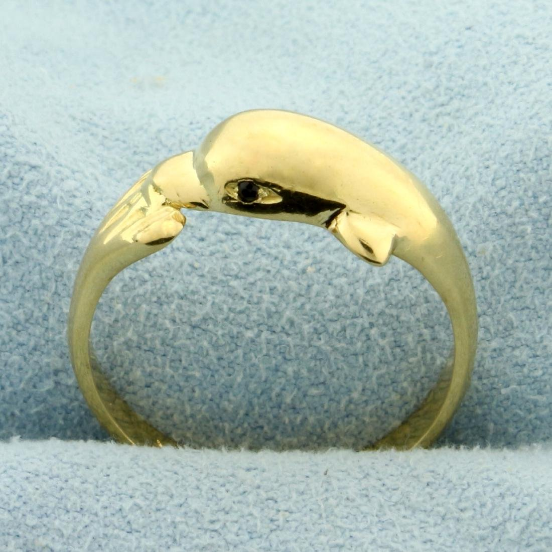 Wrap Around Dolphin Ring in 18K Yellow Gold