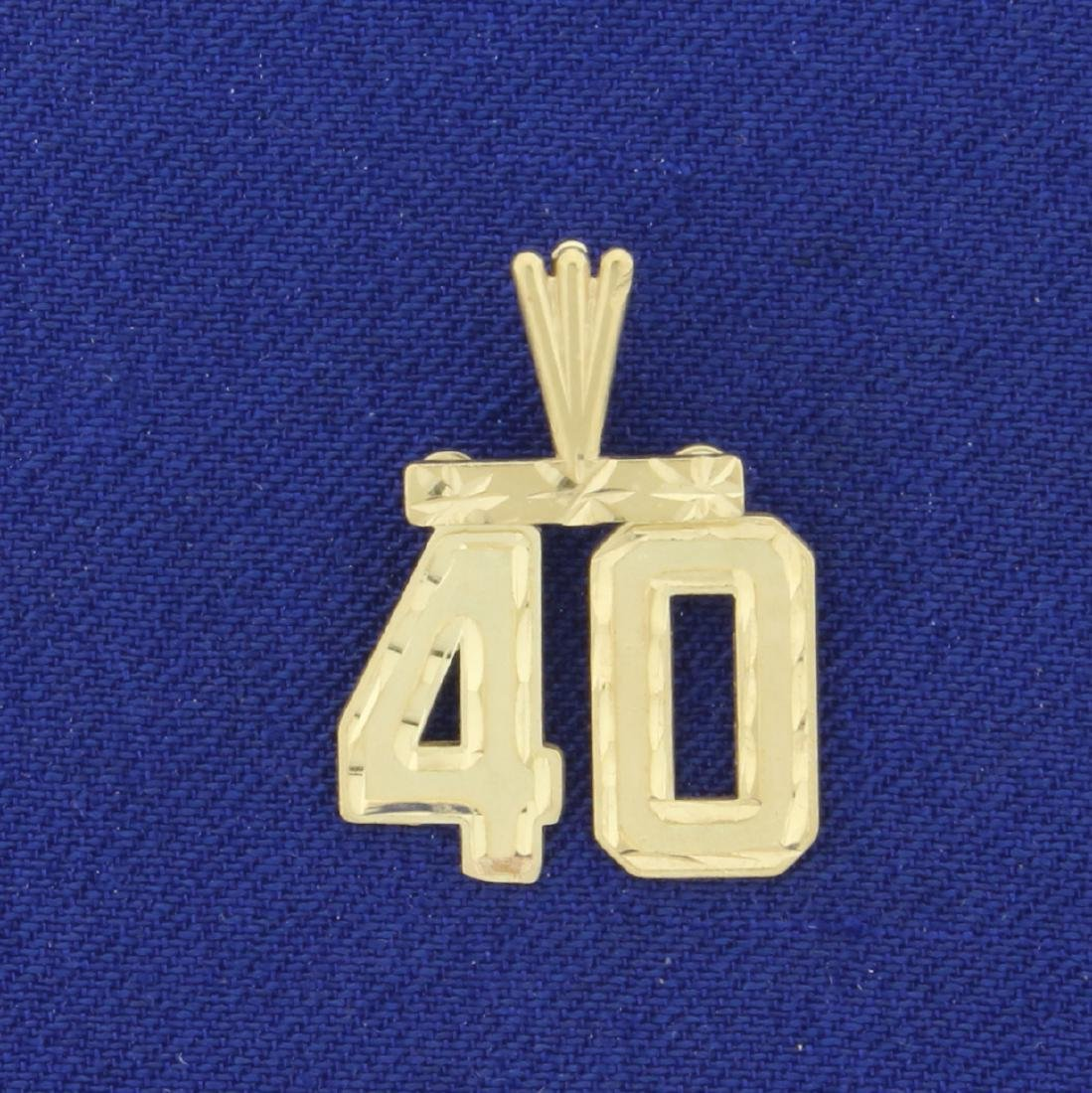 Number 40 Pendant in 14K Yellow Gold