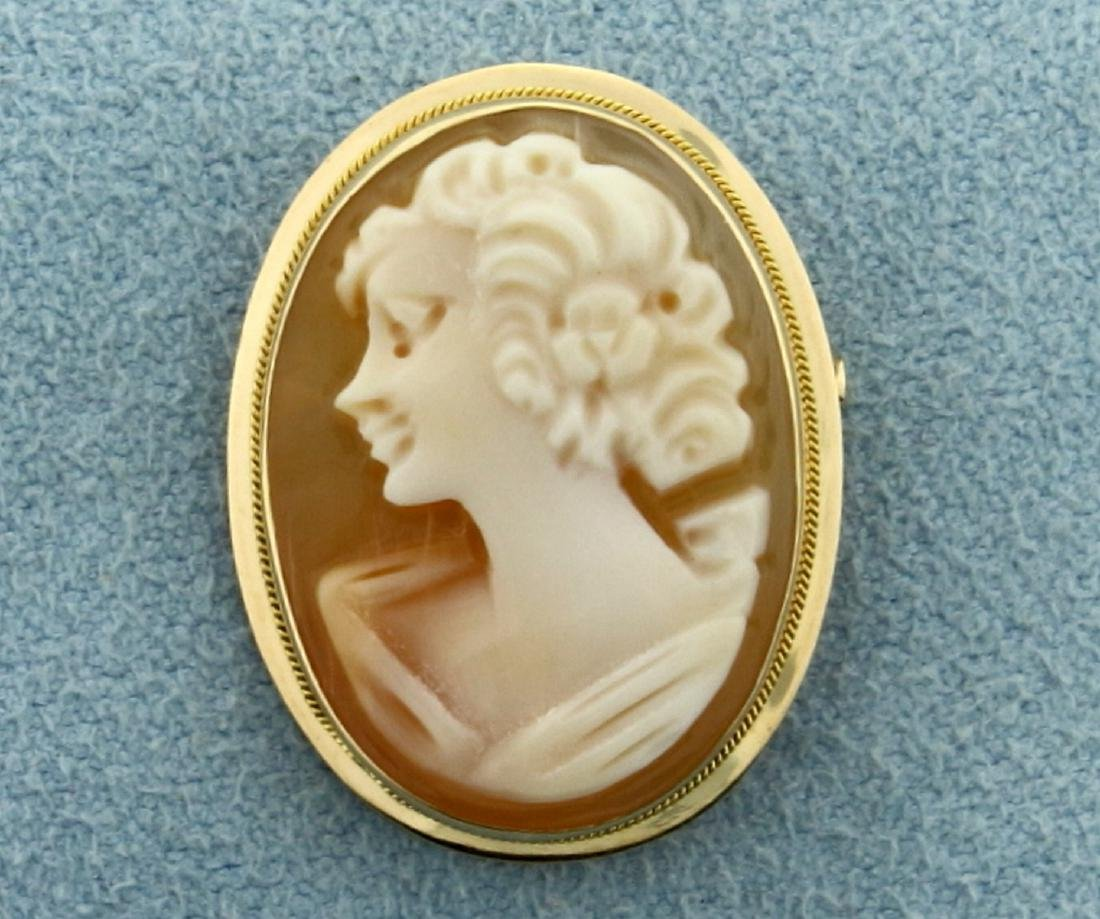 Cameo Pin or Pendant in 14K Yellow Gold