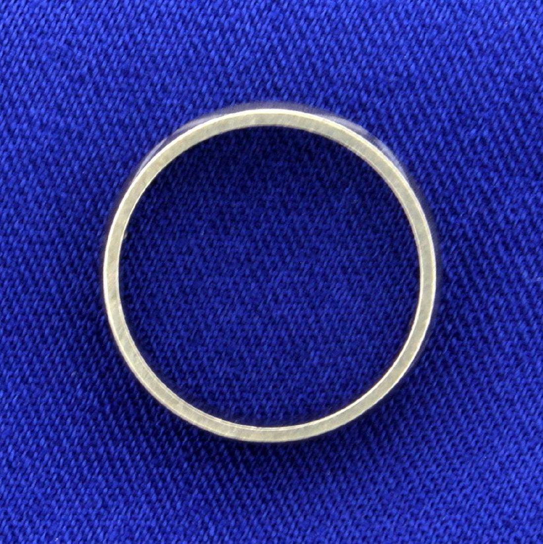 Woman's White Gold Wedding Band Ring - 2