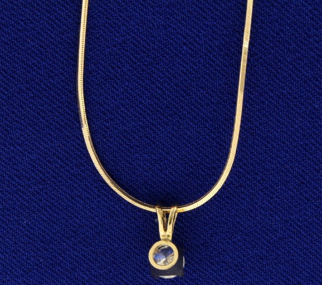 1/3ct Diamond Pendant on 14k Gold Chain - 2