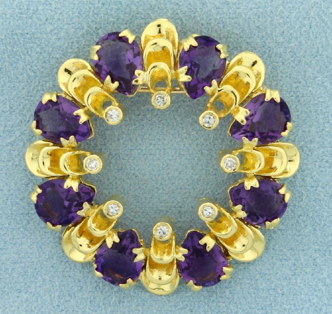 Designer Circle Amethyst and Diamond Pin or Pendant in