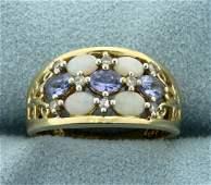 Opal, Tanzanite, and Diamond Ring in 10K Yellow Gold