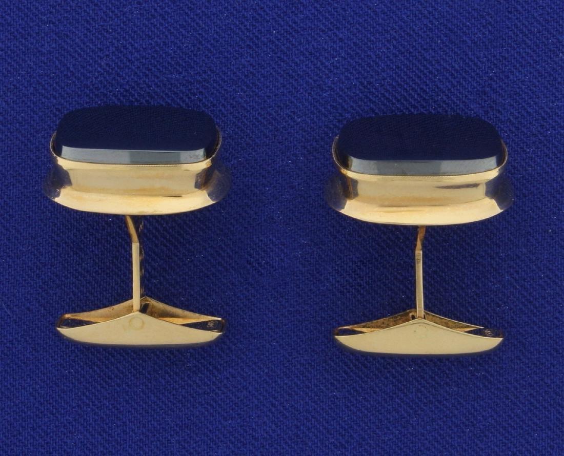 Hematite Cufflinks in 14K Yellow Gold - 2