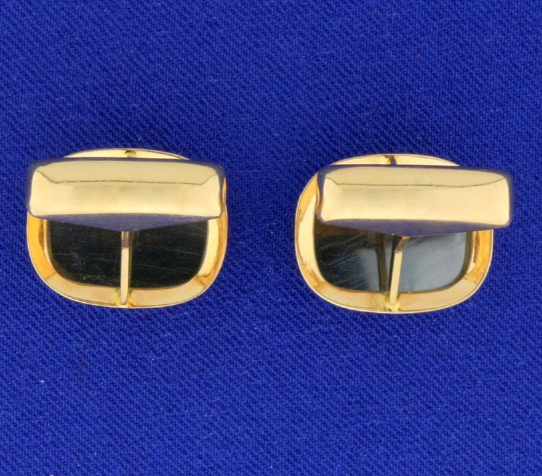 Hematite Cufflinks in 14K Yellow Gold - 3