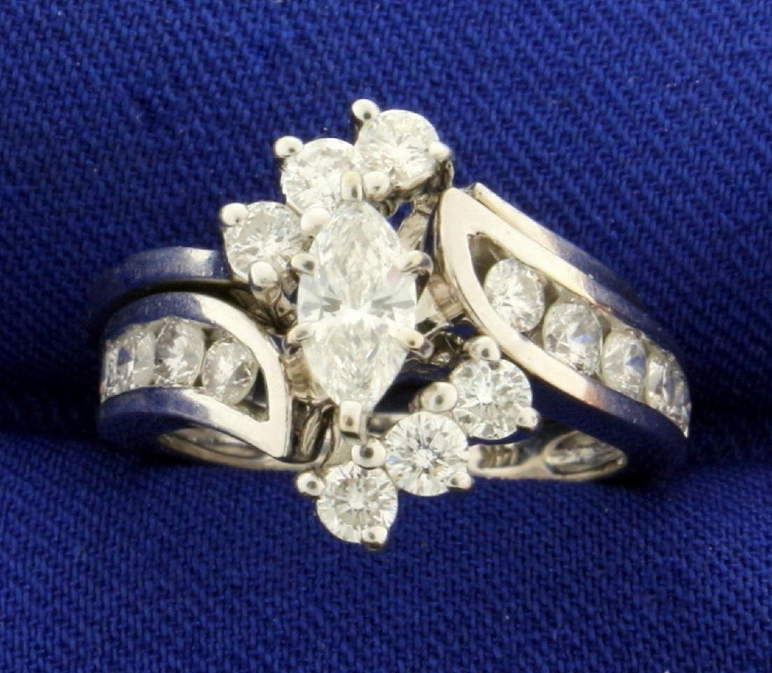 1 1/2 ct TW Marquise Diamond Engagement Ring Set in 14k