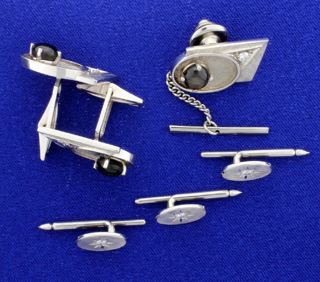 Diamond and Black Sapphire Cufflinks, Tie Tack, and
