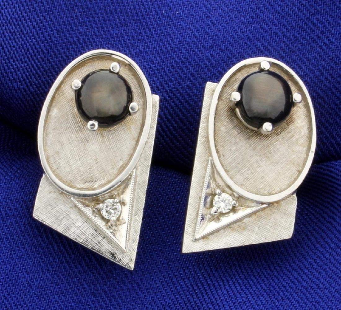 Diamond and Black Sapphire Cufflinks, Tie Tack, and - 3