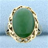 6ct Jade Solitaire Ring in 14K Yellow Gold