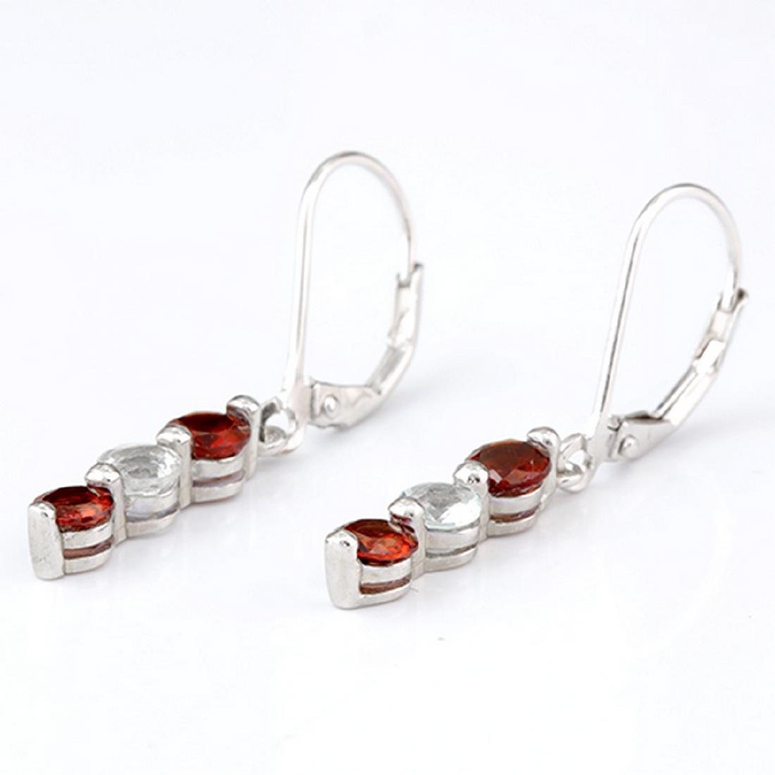 Garnet and Aquamarine Dangle Sterling Silver Earrings - 2