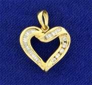 14 ct TW Baguette and Round Diamond Heart Pendant in