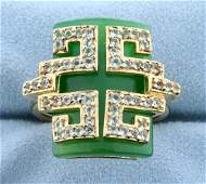 Jade and White Sapphire Statement Ring in Gold Plated