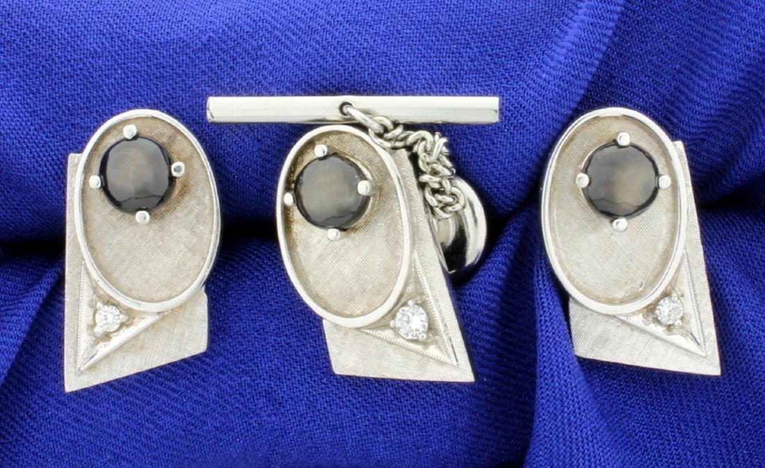 Diamond and Black Sapphire Cufflinks, Tie Tack, and - 2