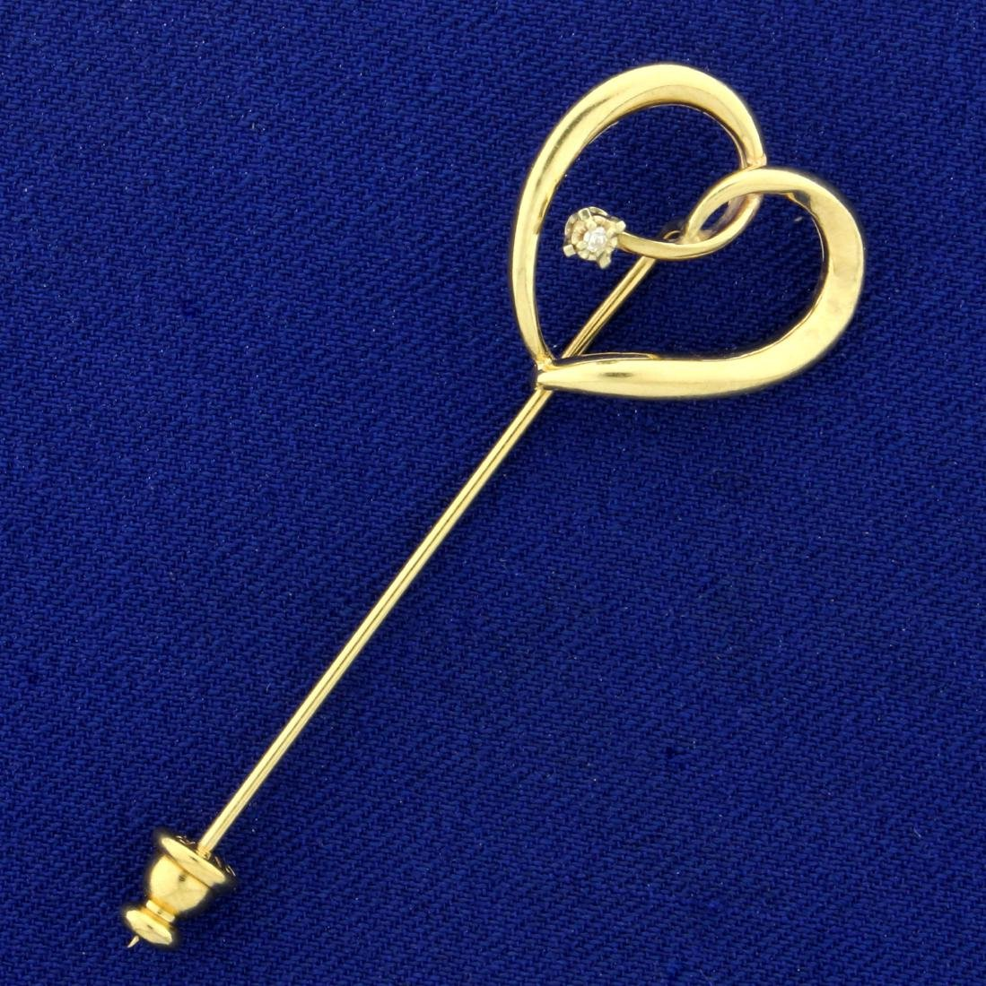 Heart Pin with Diamond in 14K Yellow Gold
