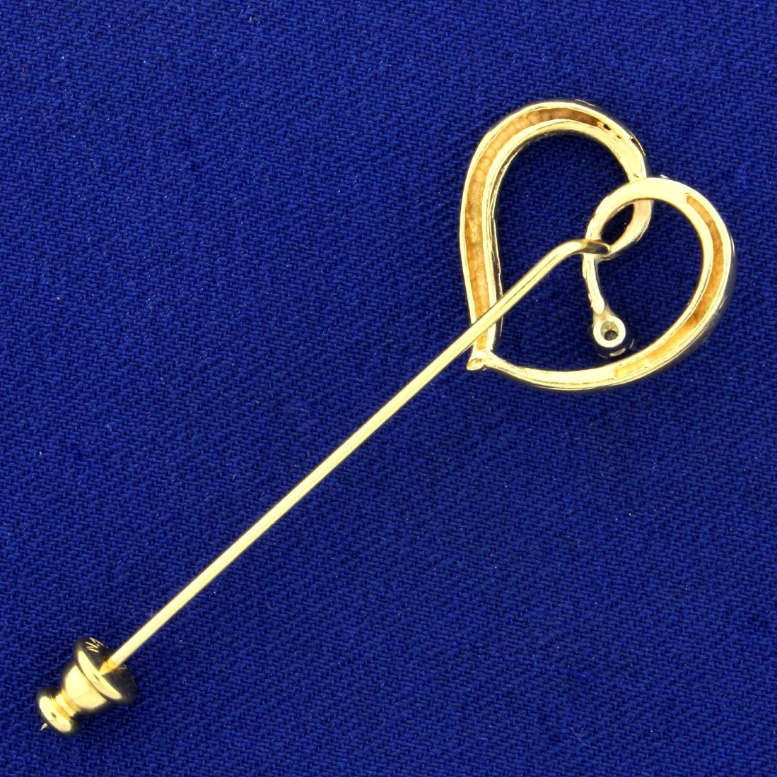 Heart Pin with Diamond in 14K Yellow Gold - 2